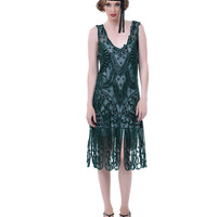 1920s Style Emerald Green Beaded Drop Waist Flapper Dress - Unique Vintage - Prom dresses, retro dresses, retro swimsuits.