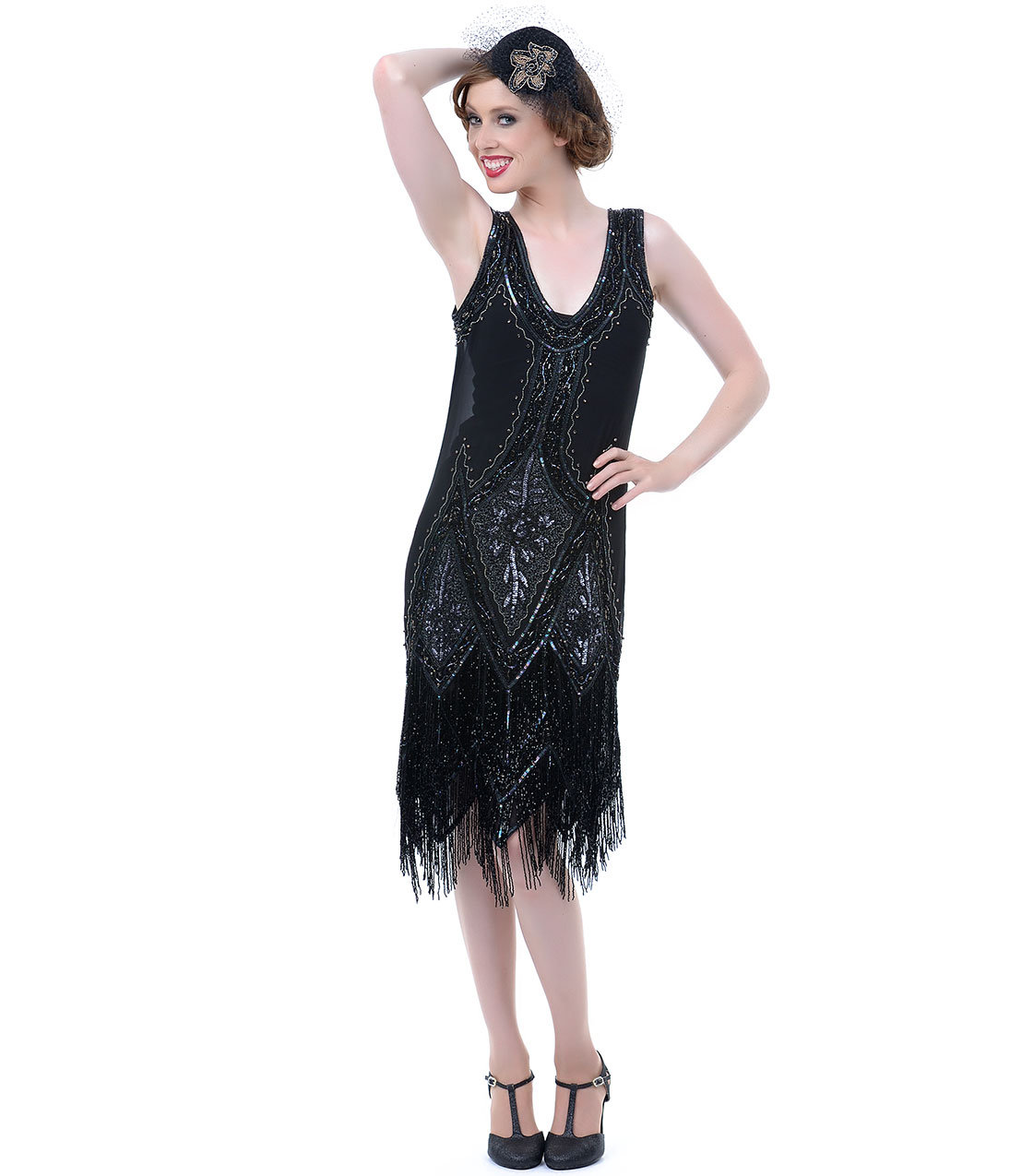 All Black Embroidered Reproduction 1920s from Unique Vintage