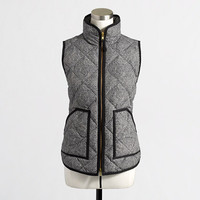 Factory quilted puffer vest in herringbone
