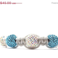 Vac Sale, Will Ship 8/19 Beaded Macrame Bracelet, Aquamarine