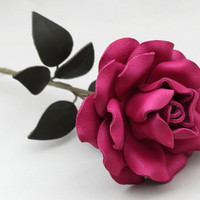Hot Pink Leather Rose Third Wedding Anniversary by Leatherblossoms