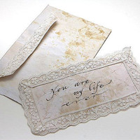 Love Message  Envelope and Paper Set with Lace by LenaSeptemvri
