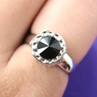 SALE - Simple Black Round Gemstone Ring in Silver with Textured Detail