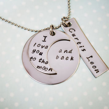 I love you to the moon and back necklace by StampedMemoriesbyMel
