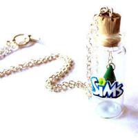 The Sims plumbob inspired necklace your choice by bottledwonders