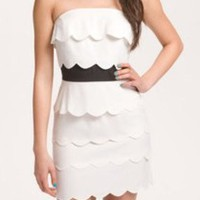 NORDSTROM BP LUSH TIERED SCALLOPED WHITE DRESS Homecoming, Pref/rush Size XS