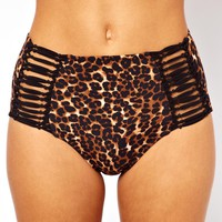 ASOS | ASOS Leopard Print Strappy Side High Waisted Bikini Pant at ASOS