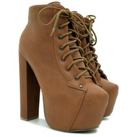 "Spy Love Buy Wooden Block Heel Concealed Pointed Platform Ankle Boots ""Lilly"""