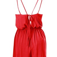 LOVE Red Chiffon Yoke Playsuit