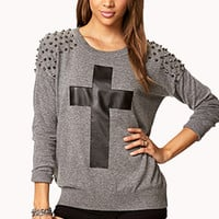 Spiked Cross Sweater | FOREVER 21 - 2078793858