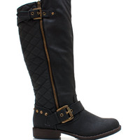 Studded-Quilted-Riding-Boots BLACK CHESTNUT TAUPE - GoJane.com