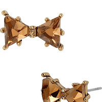 BetseyJohnson.com - ICONIC TOPAZ BOW GEM EARRING BROWN GOLD