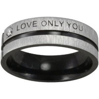 Black Tone Stainless Steel &quot;Love Only You&quot; Cubic Zirconia Band Ring (Size 11)