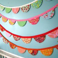 Scalloped Fabric Bunting/Garland Cheery and by FaSewLaStitches