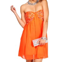 Christiana-Neon Coral Homecoming Dress