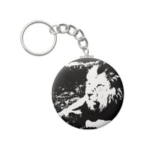 Lion in Black and White Keychain