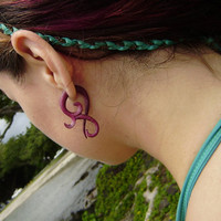 Fake gauge Earrings , Natural purple wood tribal style small twist  hand made fake piercings