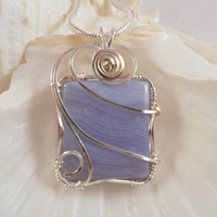 Wire Wrapped Blue Lace Agate Pendant, Handmade Jewelry