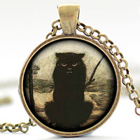The Black Cat Necklace, Snarling Cat Pendant, Black Cat Charm, Gothic Jewelry  (521)
