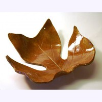 CERAMIC Tulip Poplar LEAF BOWL -- Speckled Brown | HarmonArt - Ceramics & Pottery on ArtFire