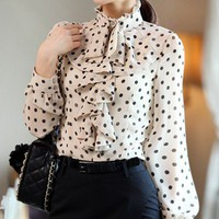 Feminine Fall. Polka Dots Beige Chiffon Ruffles Blouse.Victorian Chic | GlamUp - Clothing on ArtFire
