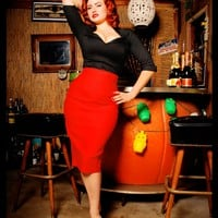 The Perfect Pencil Skirt in Red by Dixiefried | Pinup Girl Clothing