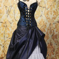Waist 25 to 27 - Bust 32 to 35 - Blue and Black Crossfire Corset