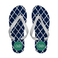 Emerald Green and Blue Quatrefoil Pattern Monogram Flip Flops