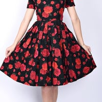 Vintage 50s 60s Black Red Floral Rose Cocktail Dress Cotton Pleated Mini XS