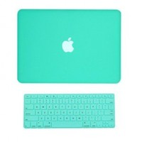 "TopCase 2 in 1 Rubberized Turquoise Blue Hard Case Cover and Keyboard Cover for Macbook White 13"" (A1342/Latest) with TopCase Mouse Pad (Case NOT for 1st Gen A1181 with Mouse Clicker):Amazon:Computers & Accessories"