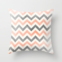 Peach grey chevron Throw Pillow by Mercedes