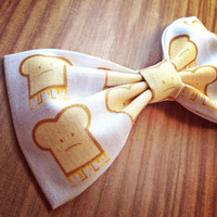 Grilled Cheese print handmade fabric bow tie or hair bow