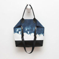 EVERYDAY 10/ Convertible dyed denim & black leather tote