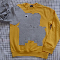 Elephant shirt Trunk sleeve sweatshirt sweater jumper mens L Bright Yellow