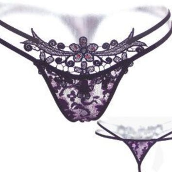 Embroidered Floral LaceThong