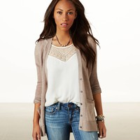 AE Mixed Knit Cardigan | American Eagle Outfitters