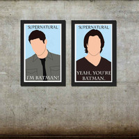 Supernatural Sam and Dean Winchester Poster Set of 2 Prints 11 x 17