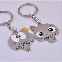 Sweet Couples Vintage Mushroom His and Hers Keychain Set