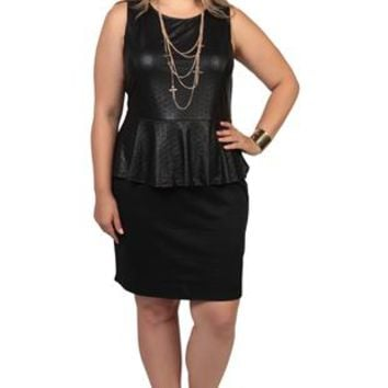 plus size leather peplum dress with scoop from deb shops