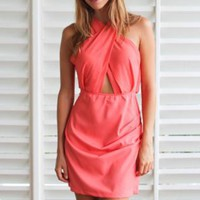 Coral Sleeveless Dress with Chiffon Draped Cutout Top