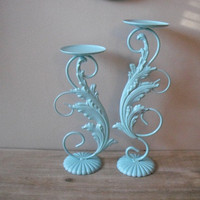 2 Aqua Ornate metal candle holders shabby chic by MamaLisasCottage
