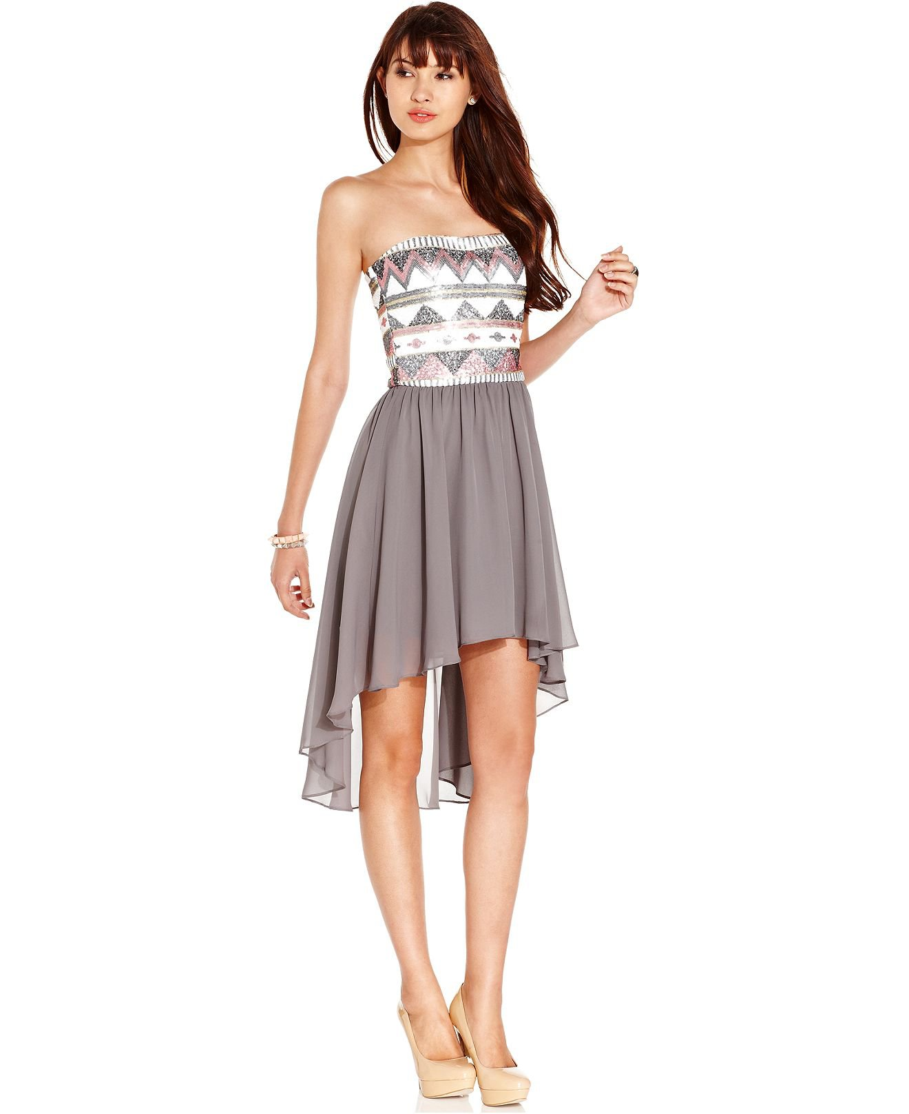 ... Dress, Strapless Sequin High-Low - Juniors Homecoming Dresses - Macy's