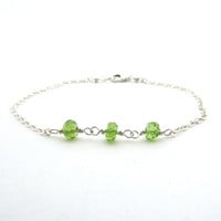 Peridot bracelet, August birthstone jewelry, sterling silver wire wrapped bracelet, lime green peridot