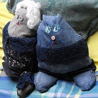 Bag Lady And Her Cat | Linandara - Toys on ArtFire