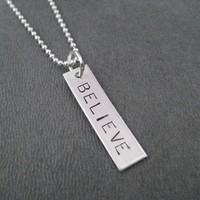 STERLING SILVER BELIEVE Necklace - Sterling Silver pendant Sterling or Leather and Sterling Silver Chain