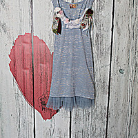 Burnout Shabby Chic Women's Tank Top / Upcycled Woodland Fairy Clothing / Ladies Romantic Gypsy Baby Blue Shirt / Junior Tunic