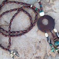 Tribal Hippie - Beaded Necklace - Bone and Wood