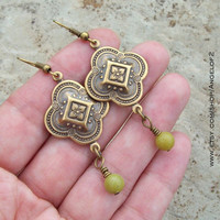 Olive - Simply Boho Chic Medallion Metal Drop Earrings