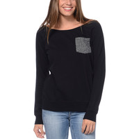 Zine Girls Black Crew Neck Pocket Sweatshirt at Zumiez : PDP
