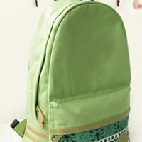 Mint Green Canvas Backpack with Tribe Embellishment EIS786 from topsales